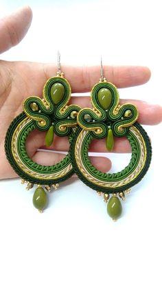 Amazing big soutache earrings wheel hoop autumn elegant | Etsy Soutache Earrings, Crochet Earrings, Drop Earrings, Shibori, Little Gifts, Glass Beads, Handmade Jewelry, Ribbon, Amazing