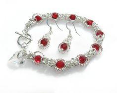 Red Swarovski Byzantine Bracelet and Earring Set by GemsdeVine on Etsy, $27.99