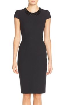 Betsey Johnson Beaded Collar Sheath Dress available at #Nordstrom