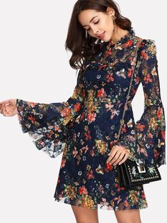 Boho A Line Floral Fit and Flare Stand Collar Long Sleeve Flounce Sleeve High Waist Multicolor Short Length Calico Print Keyhole Back Bell Sleeve Dress with Lining Fit N Flare Dress, Fit And Flare, Long Summer Dresses, Short Dresses, Dress Long, Dress Summer, Cheap Dresses, Bell Sleeve Dress, Bell Sleeves