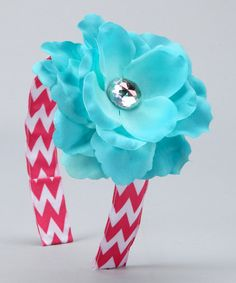 Take a look at this Pink & Turquoise Chevron Flower Headband by Sweet Petunia on #zulily today!