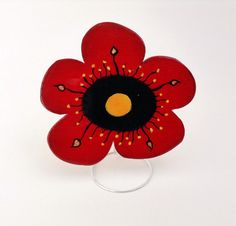 Hand painted laser cut wooden brooch jewelry, crystal resin coated, pin finding, Red Flower