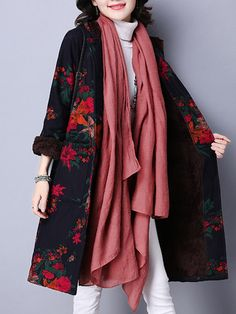 Ethnic Style Printing Hooded Thick Velvet Loose Women Coat @woohooshop