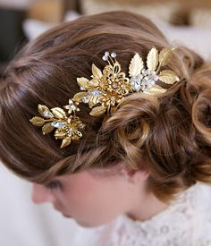 Gold Hair Pin and Comb set Wedding Flower by GildedShadows on Etsy