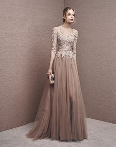 3055a44e9791e evening gown with sleeves Marvelous Tulle Bateau Neckline Half Length  Sleeves Slit A-line Evening Dresses With Lace Appliques   Sash