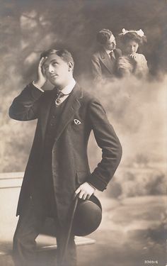 Man Daydreaming about Love, 1910s  http://www.vintag.es/2013/04/faking-it-manipulated-photography.html#more
