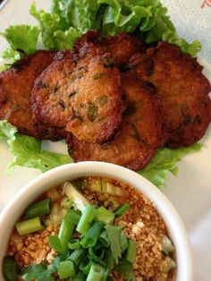 Thai food - fish cakes and herb sauce