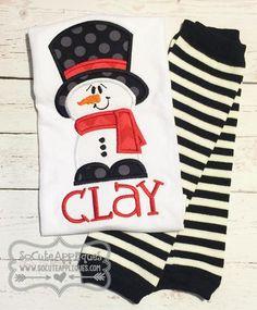 Embroidery design 5x7 6x10 Snowman applique by SoCuteAppliques