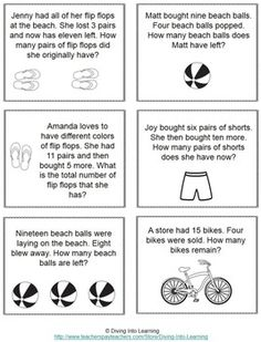 Word Problems: Summer Theme (First Grade) Math For First Graders, First Grade Words, 1st Grade Math, Grade 1, Subtraction Kindergarten, Kindergarten Math Worksheets, Teaching Math, Kindergarten Addition, Addition Words