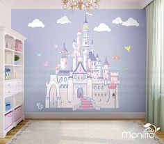 Great Disney Princess Castle With Colorful Birds And Squirrel Large Wall  Sticker,Kids Room Bedroom Playroom Wall Decal,Nursery Wall Decal