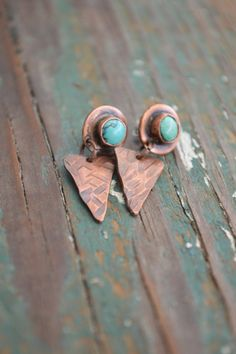 Hey, I found this really awesome Etsy listing at https://www.etsy.com/listing/212604255/rustic-turquoise-earrings-copper