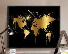 Gold World Map Art Print Poster World Map Print by WillowAndOlive #DIYHomeDecorGold