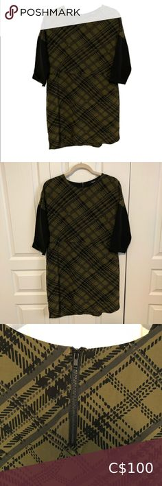 MADEWELL SILK BLEND DRESS Excellent condition Flowy light and soft Lined Size small Madewell Silk Shiftdress in Tread Plaid Green silk blend black and olive green in excellent condition! Has or sleeves. Has pockets! Above knee length Madewell Dresses Green Silk, Plus Fashion, Fashion Tips, Fashion Trends, Olive Green, Plaid, Pockets, Sleeves, Tartan