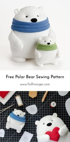 Free Polar Bear Sewing Pattern and Tutorial by Fluffmonger - Stuffed Polar Bear Sewing Pattern, DIY Gifts for Kids, DIY Christmas Gift, DIY Valentine's Day Gift toys Mr. Foofs the Polar Bear Free Sewing Pattern and Tutorial Sewing Patterns Free, Free Sewing, Free Pattern, Pattern Ideas, Christmas Sewing Patterns, Sewing Designs, Christmas Sewing Projects, Baby Dekor, Diy Gifts For Kids