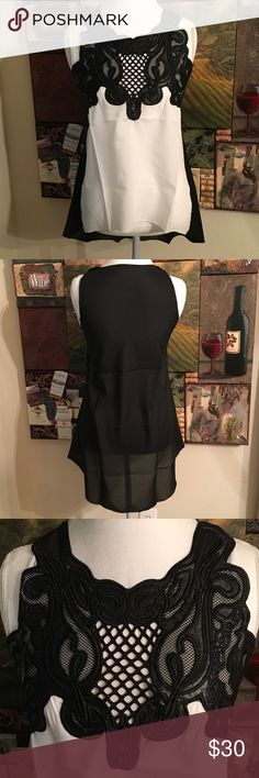 Chiffon Hi Low Lace Sleeveless Blouse. Cream Black Beautiful Chiffon Hi Low Sleeveless Blouse. Cream and Black. Says large but fits a small medium. The mannequin is a medium size. Well made and gorgeous. Tops Blouses