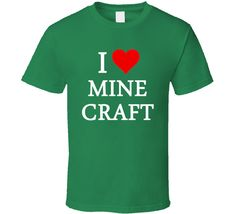 I Heart / Love Minecraft (White Font) Popular Game T Shirt