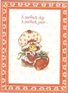 Vintage Kenner / American Greetings Strawberry Shortcake Greeting Card - Strawberry Shortcake & Berry with Bow Red Border Card