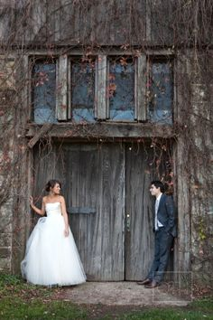 Bride and Groom Outside Barn | photography by http://www.christianothstudio.com