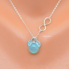 Mother's Day Necklace Two Initial Birthstone Necklace by Uqfashion
