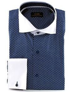 men's dress shirt white with blue polka dot | ... Men's Polka Dot 100 Cotton French Cuff Dress Shirt DS1076 Blue | eBay