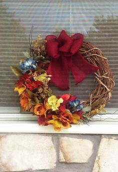 TRADITIONAL FALL WREATH~Fall/Autumn Grapevine ~Large Size Grapevine~Cabbage Rose Floral~Mixed Floral Bouquet~ Door Wreath~Home Decor~Pretty by TeesWonderfulWreaths on Etsy