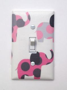 Pink and Gray Elephant Nursery Decor / Light Switch Plate Cover / Baby Girl White on Etsy, $16.00