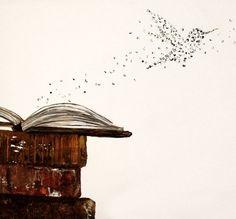 Autoren und Schüler Wall Art, fliegen Sie Briefe von offenes Buch - Typographic Druck. by ContemporaryEarthArt on Etsy