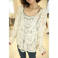 $10.78 Sweet Openwork Embroidery Pattern Loose Fit Long Sleeve Lace Blouse For Women
