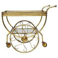 Check out this item at One Kings Lane! Brass & Glass Bar Cart