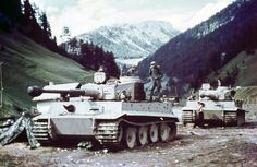 Two German Tiger tanks from the schwere-Panzer-Abteilung 508 in the Brenner Pass at the Austria–Italy border, 1943.