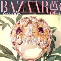 Orquideas ring in yellow ahold with rubies and diamonds by Carrera y Carrera, published in Harper's Bazaar China. www.carreraycarrera.com #carreraycarrera #jewelry #sedaimperial #ring #goldenrings #goldenjewels #jewels #gems #gemstones #shine #style #chic #luxury #harpersbazaarchina #magazines #editorschoice