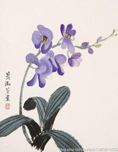 Xiao Shufang's painting--orchid Japan Painting, China Painting, Watercolor Flowers, Watercolor Art, Orchids Painting, Oriental Flowers, Art Asiatique, Art Japonais, China Art