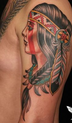 traditional american tattoo girl indian - Google Search