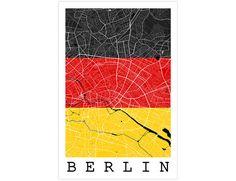 Berlin Street Map Berlin Germany Flag Modern Art by JurqStudio
