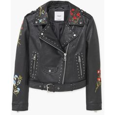 MANGO Embroidered Stud Jacket (2 720 UAH) ❤ liked on Polyvore featuring outerwear, jackets, long sleeve jacket, biker style jacket, lapel jacket, studded biker jacket and buckle jackets