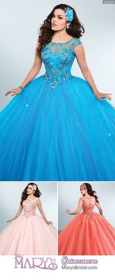 Style 4Q434: Sparkling tulle quinceanera ball gown with bateau neck line, keyholes on the back, beading motifs, scallop basque waist line, cap sleeves, and back zipper closure. From Mary's Quinceanera Fall 2016 Princess Collection Pretty Quinceanera Dresses, Blue Wedding Dresses, Sweet 16 Dresses, Pretty Dresses, 15 Anos Dresses, 15 Birthday Dresses, Quince Dresses, Ball Gown Dresses, Beautiful Gowns