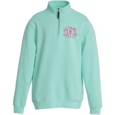 Monogrammed Quarter Zip Sweatshirt with Pockets ($39) ❤ liked on Polyvore featuring tops, hoodies, sweatshirts, relaxed fit tops, quarter zip sweatshirt, green top, pocket sweatshirt and cotton sweatshirts