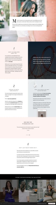 Absolutely love the web design on Marie Forleo's new website. Great color palette and super classy use of fonts. Love on desktop and mobile! Web design inspiration for sure!