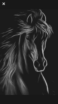 Pintura ,cavalo - Her Crochet Horse Drawings, Animal Drawings, Art Drawings, Pencil Drawings, Drawing Art, Drawing Ideas, Black Paper Drawing, Horse Artwork, Charcoal Art