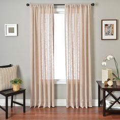 Colchester Ave Louvre Rod Pocket Curtain Panel - in Natural at Walmart