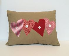 Valentine's pillow, Heart pillow, decorative pillow, quilted pillow on Etsy, 17,29€