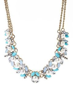 Turquoise & Crystal Floral Bib Necklace from zulily
