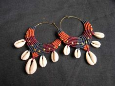 """colorfull Macrame Tribal Hoops """"Mama Africa"""" with Cowrie Shells"""