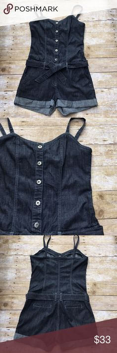 Denim Romper Denim Romper with adjustable straps. Very cute! Can be worn casually or for an evening out with a cute pair of heels!    98% Cotton, 2% Spandex   Approx.  Chest: 18 inches arm pit to arm pit  Waist: 34 inches Sweet Vibes Shorts Jean Shorts