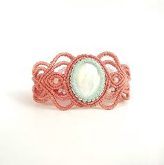 Macrame Bracelet - White Mother Of Pearl With Pink Coral And Mint Thread
