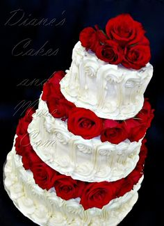 Red Roses Wedding Cake by Diane's Cakes and More