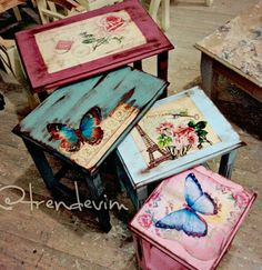 This Pin was discovered by Baş Decoupage Furniture, Hand Painted Furniture, Paint Furniture, Shabby Chic Furniture, Furniture Makeover, Upcycled Furniture, Banco Vintage, Shabby Chic Upcycling, Wood Crafts