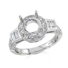 BF1349 - #23447  18 k. white diamond ring 0.28 ct. baguettes 0.64 ct. rounds (Please call for pricing)