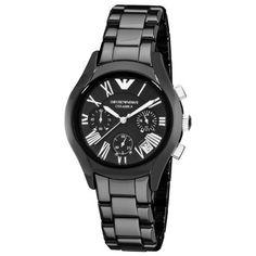 Emporio Armani Ladies Black Ceramic, AR1401 Round Black Dial Chronograph Watch Discount from Β£479 To Β£147,99