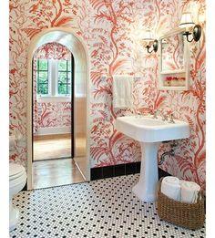 Friday powder room crush. Loving this @brunschwigfils wallpaper spotted on Pinterest ❤️ #unknowndesigner #birdsandthistle #favoritecolor #redmakesmehappy #wallpapercrush